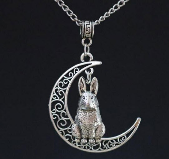 Crescent Moon Bunny Rabbit Necklace