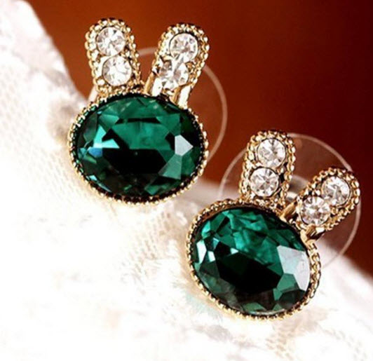 Bunny Stud Earrings Semi Precious Stones